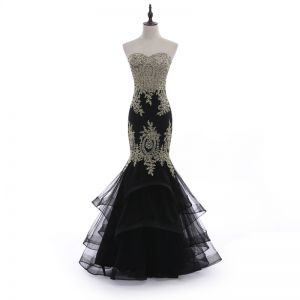 Charming Black Evening Dresses  2018 Trumpet / Mermaid Strapless Backless Lace Flower Rhinestone Sleeveless Floor-Length / Long Formal Dresses