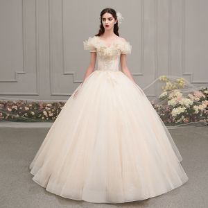 Chic / Beautiful Champagne Outdoor / Garden Wedding Dresses 2019 Ball Gown Amazing / Unique Off-The-Shoulder Short Sleeve Backless Beading Glitter Tulle Floor-Length / Long Ruffle