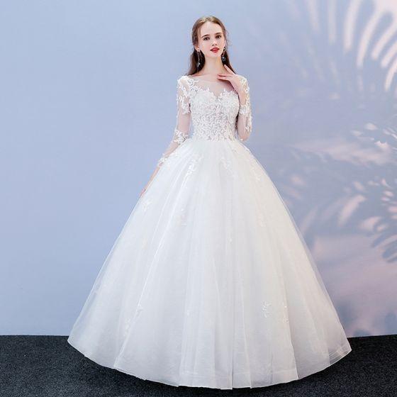 Niedrogie Białe Przebili Suknie Ślubne 2017 Suknia Balowa Wycięciem Długie Rękawy Bez Pleców Aplikacje Z Koronki Długie