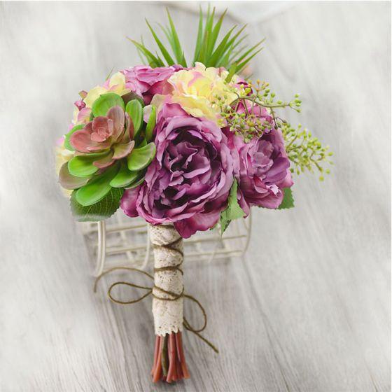 Artificielles Succulentes De Fleurs De Simulation De Soie The Nostalgique Augmente Bouquet De Mariée Tenant Des Fleurs Fleurs De Mariage