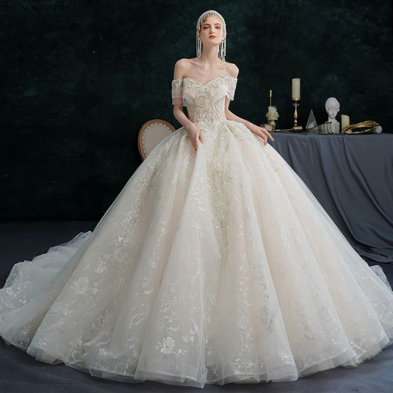 Illusion Champagne Wedding Dresses 2021 Ball Gown Off-The-Shoulder Beading Pearl Rhinestone Sequins Short Sleeve Backless Royal Train Wedding