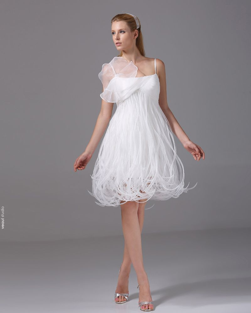 Spaghetti Straps Ruffle Knee Length Organza Satin Woman Mini Wedding Dress