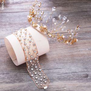 Mooie / Prachtige Goud Tiara Oorbellen Nek Ketting Bruidssieraden 2019 Metaal Kristal Parel Rhinestone Huwelijk Accessoires