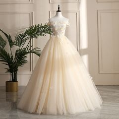 Chic / Beautiful Champagne Prom Dresses 2019 A-Line / Princess Off-The-Shoulder Pearl Sequins Lace Flower Appliques Sleeveless Backless Floor-Length / Long Formal Dresses
