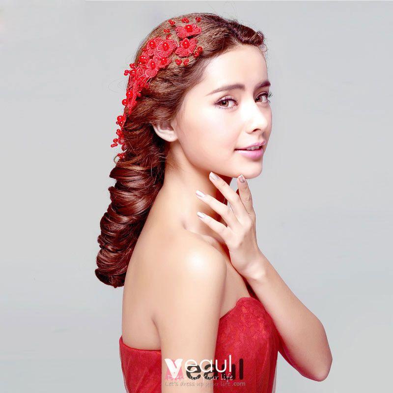 Red Bridal Headdress Head Flower Wedding Hair Accessories Cheongsam Dress Accessories Wedding Jewelry