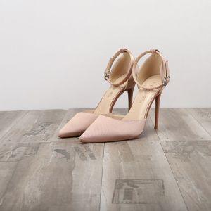 Schlicht Nude Datierung Sandalen Damen 2020 Knöchelriemen 10 cm Stilettos Spitzschuh Sandaletten