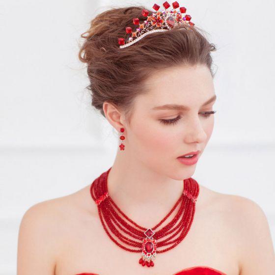 Zweiteilige Halskette / Ohrringe / Red Brautschmuck