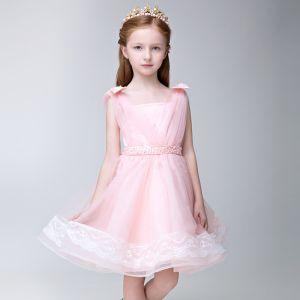 Chic / Belle Salle Robe Pour Mariage 2017 Robe Ceremonie Fille Rose Bonbon Courte Princesse Perle Ceinture Encolure Carrée Sans Manches Dos Nu En Dentelle Appliques
