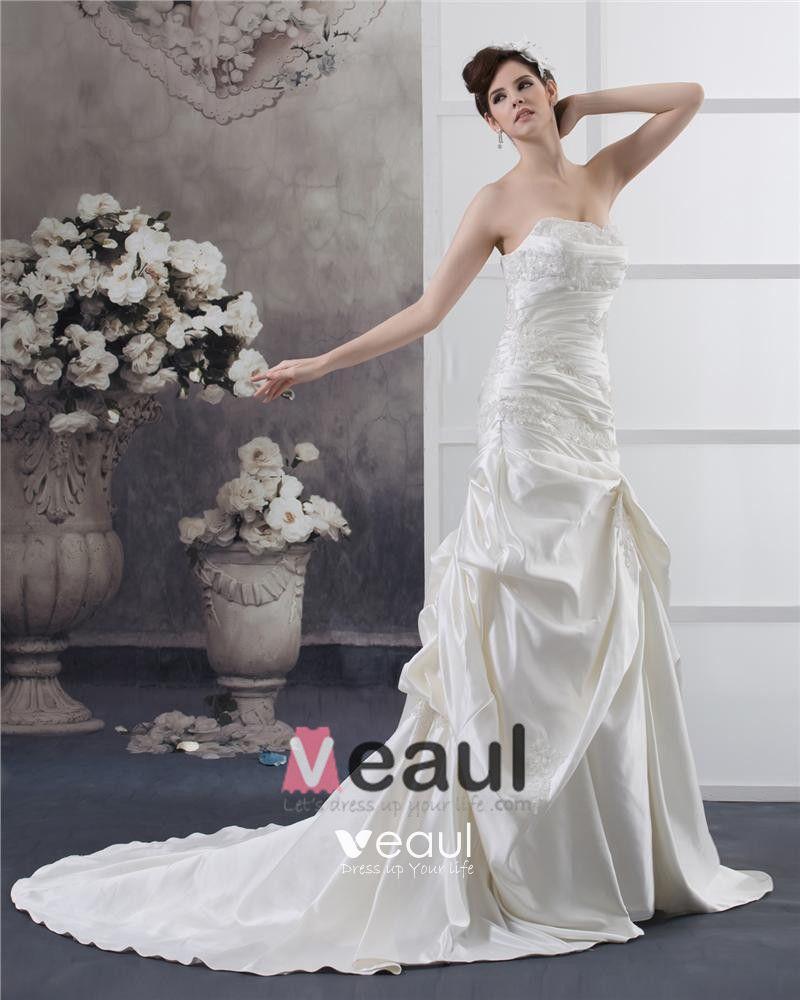 Strapless Beading Ruffle Floor Length Satin Sheath Wedding Dress