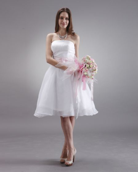Charming Satin Sash Knee Length Strapless Bridesmaid Dress
