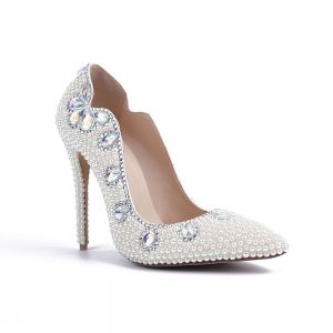 Fashion Ivory Pearl Wedding Shoes 2020 Leather Crystal 10 cm Stiletto Heels Pointed Toe Wedding Pumps