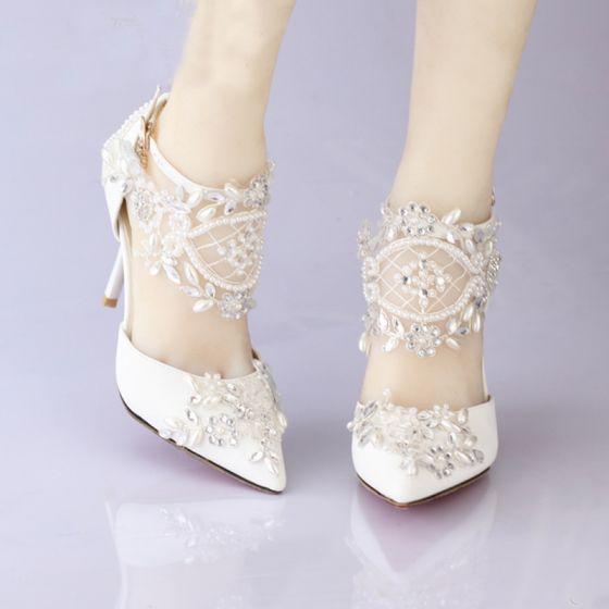 Hermoso Blanco Zapatos De Mujer 2017 Punta Estrecha High Heels Rebordear Crystal Rhinestone Boda Zapatos de novia