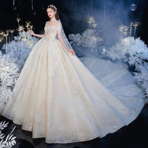 Best Champagne Bridal Wedding Dresses 2020 Ball Gown Off-The-Shoulder Short Sleeve Backless Glitter Tulle Appliques Lace Beading Cathedral Train Ruffle