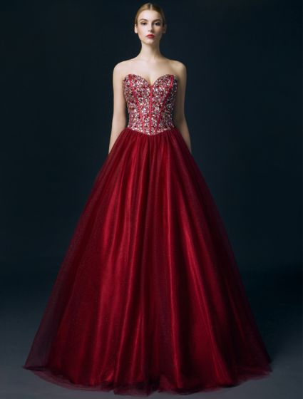 Sparkly Sweetheart Beading Sequins Crystal Corest Burgundy Glitter Organza Prom Dress