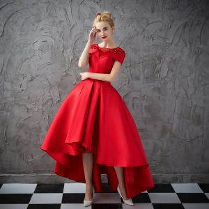 High Low Red See-through Prom Dresses 2018 Ball Gown Square Neckline Short Sleeve Appliques Lace Rhinestone Asymmetrical Ruffle Formal Dresses