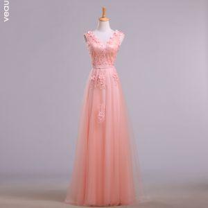 Elegant Pearl Pink Evening Dresses  2018 A-Line / Princess V-Neck Sleeveless Appliques Lace Beading Sash Floor-Length / Long Ruffle Backless Formal Dresses