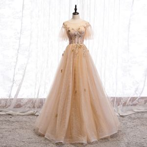 Chic / Beautiful Champagne Gold Evening Dresses  2020 A-Line / Princess See-through Scoop Neck Short Sleeve Bell sleeves Star Appliques Lace Sequins Glitter Tulle Floor-Length / Long Ruffle Backless Formal Dresses