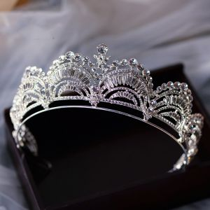 Klasyczna Srebrny Tiara Ozdoby Do Włosów Ślubne 2020 Stop Rhinestone Ślub Akcesoria