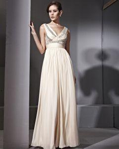 Tencel Satin Bead Tulle Shoulders Deep V Neck Floor Length Evening Dresses