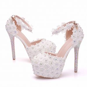 Chic / Beautiful White Wedding Shoes 2018 Lace Flower Rhinestone 14 cm Stiletto Heels Wedding Round Toe High Heels