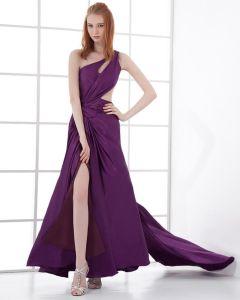 Mode Charmeuse Geplooide Een Schouder Vloer Lengte Avondjurken