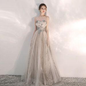 Elegant Champagne Evening Dresses  2020 A-Line / Princess Sweetheart Sleeveless Beading Glitter Tulle Floor-Length / Long Ruffle Backless Formal Dresses