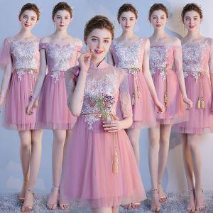 Chic / Belle Rougissant Rose Robe Demoiselle D'honneur 2018 Princesse Appliques En Dentelle Noeud Dos Nu Courte Robe Pour Mariage