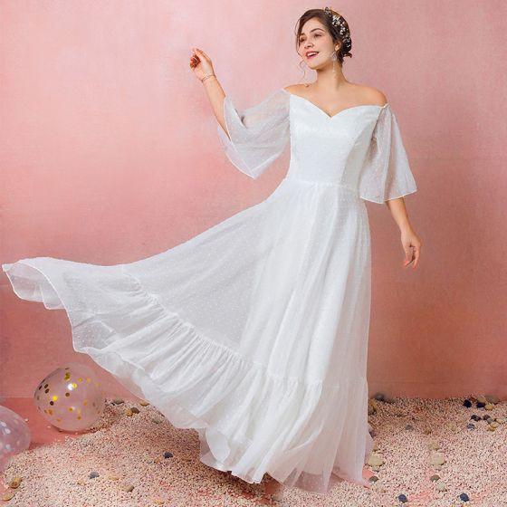 Enkel Hvide Plus Størrelse Brudekjoler 2021 Prinsesse Off-The-Shoulder 1/2 De Las Mangas Halterneck Lange Bryllup
