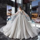 Stunning Ivory Wedding Dresses 2019 Ball Gown V-Neck Sleeveless Backless Appliques Lace Beading Sequins Detachable Watteau Train Ruffle