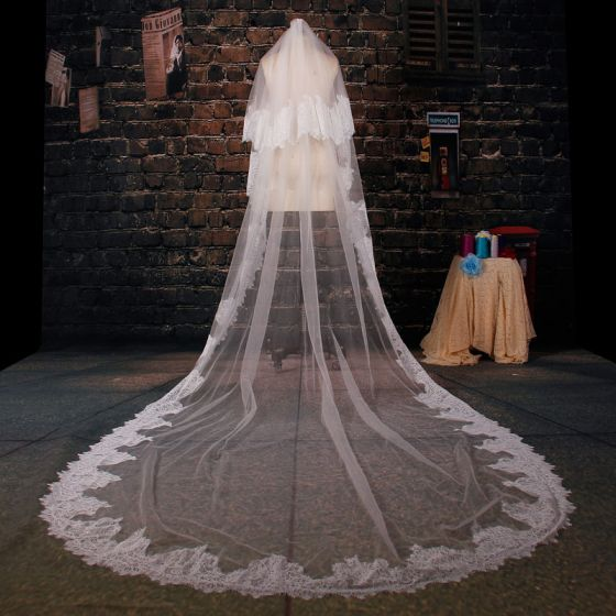175cm Long Tailing Lace Veil Soft Yarn Material