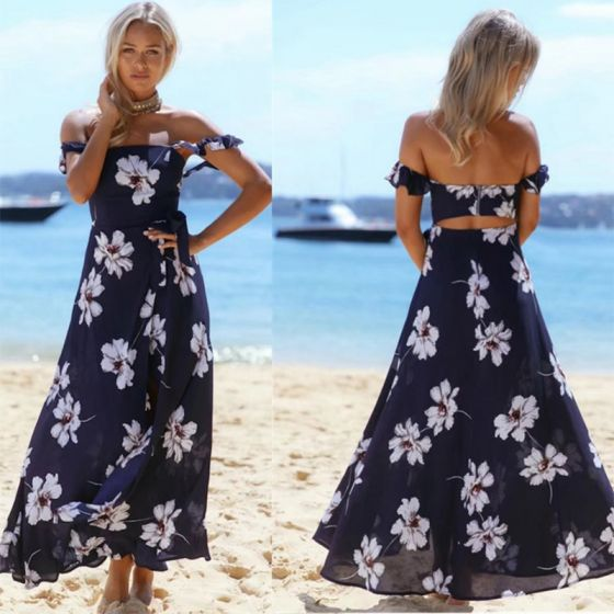 Summer Beach Navy Blue Chiffon Maxi Dresses 2018 A-Line / Princess Off-The-Shoulder Short Sleeve Printing Flower Split Front Ankle Length Backless Womens Clothing