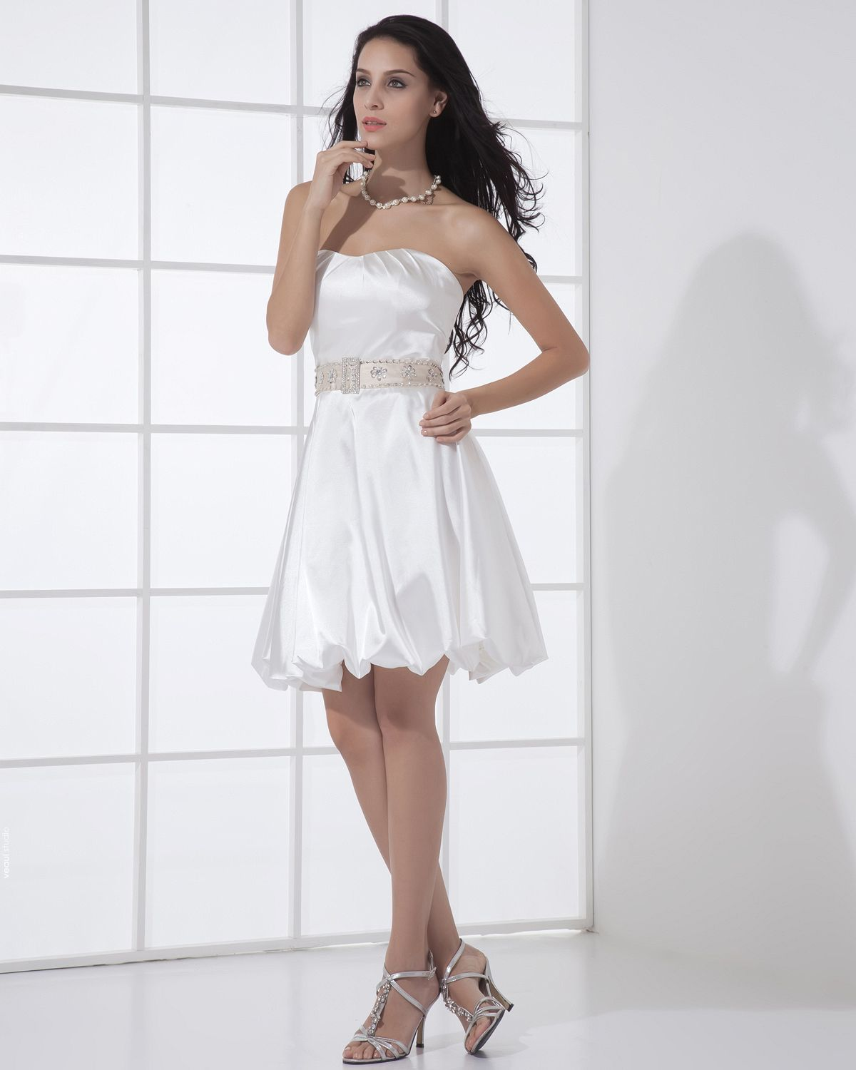 Charmeuse Ruched Sash Short Mini Bridal Gown Wedding Dress