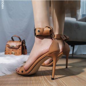 Mode Römisch Khaki Strassenmode Sandalen Damen 2020 Knöchelriemen 10 cm Stilettos Peeptoes Sandaletten