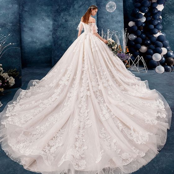 Chic / Beautiful Champagne Wedding Dresses 2019 A-Line / Princess Off-The-Shoulder Short Sleeve Bell sleeves Backless Appliques Lace Beading Pearl Cathedral Train Ruffle