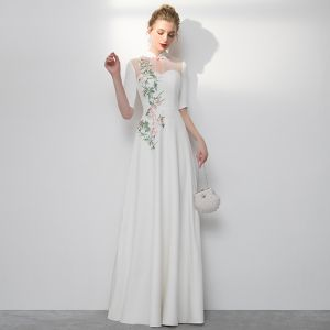 Chinese style Ivory Evening Dresses  2020 A-Line / Princess High Neck Embroidered 1/2 Sleeves Floor-Length / Long Formal Dresses