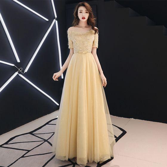 a9922d9816 Stylowe   Modne Złote Sukienki Wieczorowe 2019 Princessa Przy Ramieniu  Cekiny Kutas Kótkie Rękawy Długie Sukienki Wizytowe