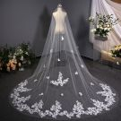 Modern / Fashion White 3D Lace Wedding Veils Handmade  Chiffon Chapel Train Lace Wedding Accessories 2019