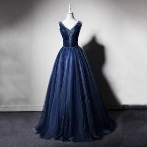 Best Navy Blue Evening Dresses  2019 A-Line / Princess V-Neck Sleeveless Beading Floor-Length / Long Ruffle Backless Formal Dresses