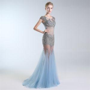 Sexy Himmelblau Durchsichtige Abendkleider 2019 Meerjungfrau Rundhalsausschnitt Perlenstickerei Pailletten Ärmel Lange Festliche Kleider
