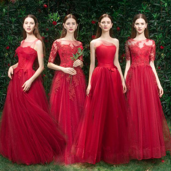Eleganckie Czerwone Sukienki Dla Druhen 2019 Princessa Aplikacje Z Koronki Frezowanie Długie Wzburzyć Sukienki Na Wesele