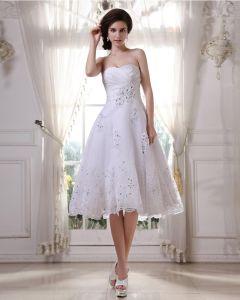 Charmante Satin Garn Perlen Ruffle Schatz Kurz Brautkleider Hochzeitskleid