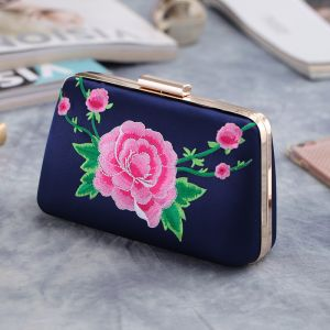 Chinese style Navy Blue Embroidered Flower Metal Clutch Bags 2018