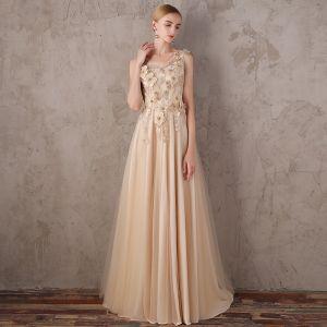 Schöne Champagner Abendkleider 2017 A Linie V-Ausschnitt Spitze Perle Applikationen Rückenfreies Perlenstickerei Heimkehr Festliche Kleider