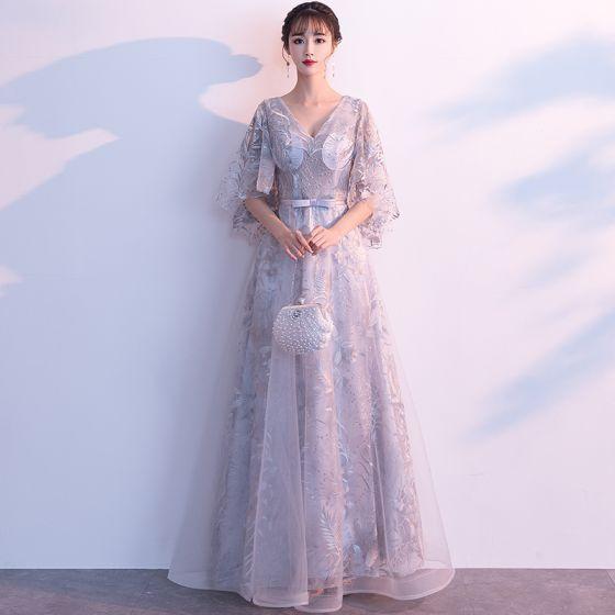 Hermoso Gris Vestidos de noche 2019 A-Line / Princess V-Cuello Bowknot Con Encaje Flor 1/2 Ærmer Sin Espalda Largos Vestidos Formales