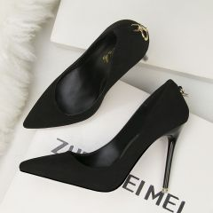 Affordable Black OL Pumps 2020 Suede 11 cm Stiletto Heels Pointed Toe Pumps