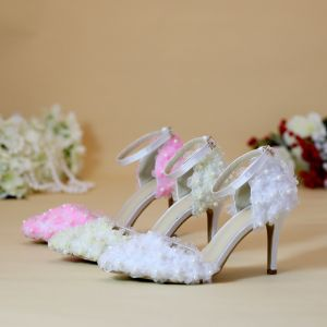 Chic / Beautiful White Wedding Shoes 2019 Ankle Strap Pearl Appliques 8 cm Stiletto Heels Pointed Toe Wedding High Heels