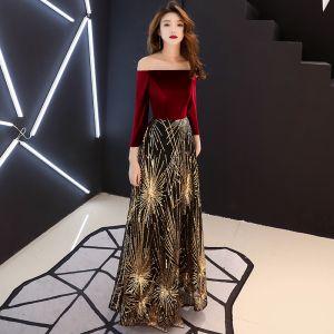 Chic / Belle Bordeaux Robe De Soirée 2019 Princesse De l'épaule Manches Longues Glitter Paillettes Longue Volants Dos Nu Robe De Ceremonie