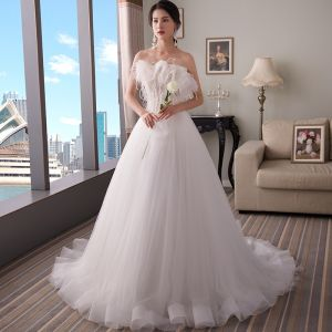 Elegant White Wedding Dresses 2018 A-Line / Princess Strapless Sleeveless Backless Feather Beading Sweep Train Ruffle