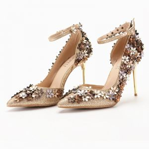 Sparkly Gold Prom Pumps 2018 Gold Flower Sequins Ankle Strap 10 cm Stiletto Heels Pointed Toe Pumps