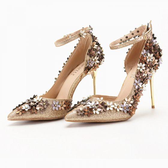 10 Flower Heels Gold